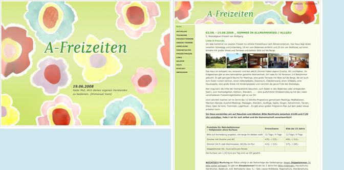 Website für einen Freizeit-Anbieter