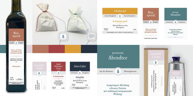 Gestaltungskonzept für Produkte aus dem Klostergarten Beuron