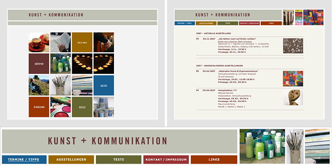 Design der Website Kunst + Kommunikation