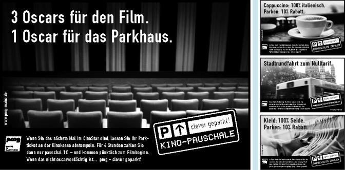 Entwicklung von 3 Anzeigenreihen für einen Parkhausbetreiber