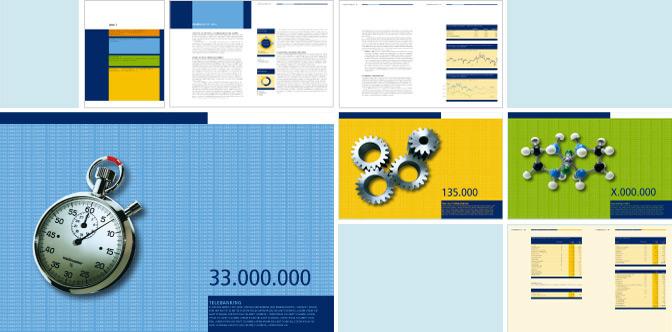 Gestaltungskonzept Innenseiten und Trennseiten für einen Geschäftsbericht